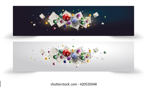 Bingo Balls and Cards are flying on shiny background. Lottery vector design. Banner or site head design.