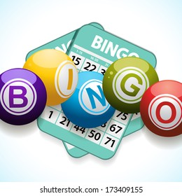 Bingo balls and cards on a white and blue background