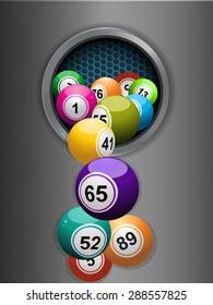 Bingo Balls Falling From a Metallic Hole over Brushed Metallic Plate