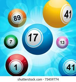 Bingo balls floating on a glowing blue background