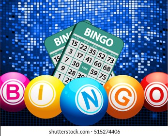 Bingo Balls Jumping Out From a Red Gift Box with Golden Ribbon Bow and Twenty seventeen Date over Blue Panel with Shadow