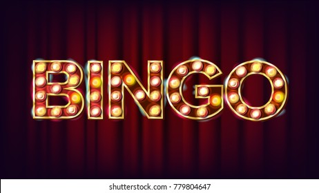 Bingo Banner Vector. Casino Glowing Lamps. For Fortune Advertising Design. Gambling Illustration