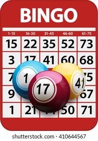 Bingo Card Red Background with 3D Bingo Balls