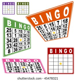 Bingo card set isolated on a white background.