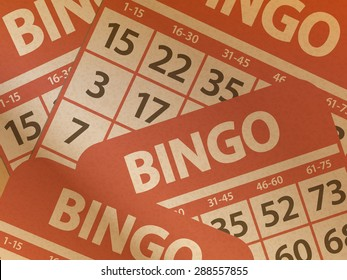 Bingo Cards Printed on Brown Paper Background