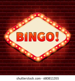 Bingo! Casino, lotto billboard background. Retro banner template with lightbulb glowing. Vintage style. Vector illustration for gambling club, web game, lottery. Business concept