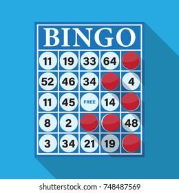 Bingo game card vector flat design.