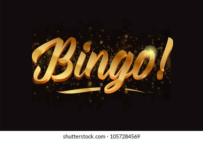 bingo gold word text with sparkle and glitter background suitable for card, brochure or typography logo design