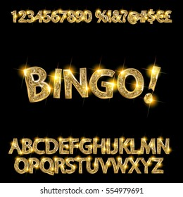 Bingo. Golden glowing alphabet and numbers on a dark background. Vector illustration for your graphic design.