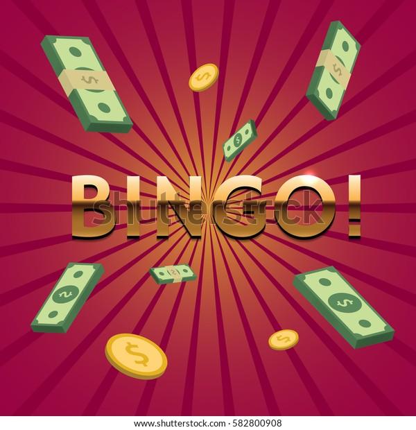 Bingo illustration. Golden letters, money and coins. Element for your design. Vector eps 10.