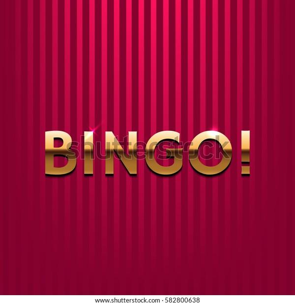 Bingo illustration. Golden letters on red background. Element for your design. Vector eps 10.