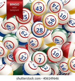 Bingo or Lottery Background with Balls. Vector Illustration of bingo balls with numbers. Vector background for bingo games. Bingo background. Lottery background.