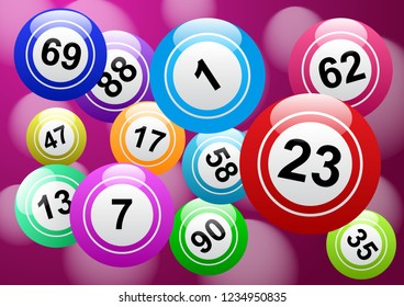 Bingo lottery, background vector design, lucky balls and numbers of lotto
