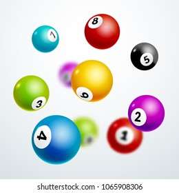 Bingo lottery balls letters background. Bingo lottery game falling balls. Realistic illustration