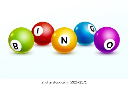 Bingo lottery balls letters background. Bingo lottery game balls. Realistic illustration.