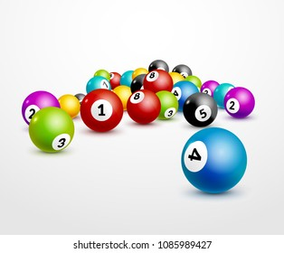 Bingo lottery balls numbers background. Lottery game balls. Lotto winner concept.