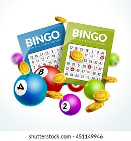 Bingo lottery balls numbers background. Lottery game balls ticket. Lotto winner.