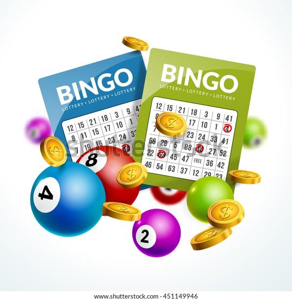 Bingo Lottery Balls Numbers Background Lottery Stock Vector