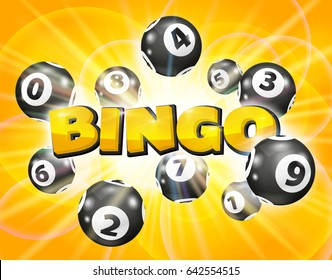 Bingo lottery balls numbers on a gold background. Lotto keno winner concept.  Bingo balls with numbers.