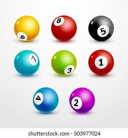 Bingo lottery balls set numbers background. Lotto winner. Billiard bowl gamble