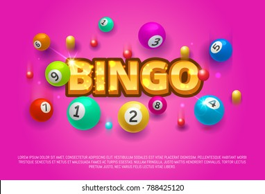 Bingo lottery banner. Colored Bingo Balls number falling luck big win concept banner casino. Vector stock illustration lottery game background.