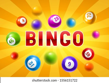 Bingo or lottery card with colored number balls. Background for gambling sport games.