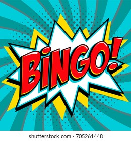 Bingo lottery poster. Lottery game background. Comics pop-art style bang shape on a blue twisted background. Ideal for web banners illustration.