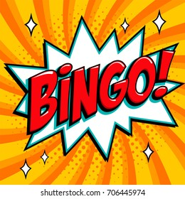 Bingo lottery poster. Lottery game background. Comics pop-art style bang shape on a yellow twisted background. Ideal for web banners illustration.