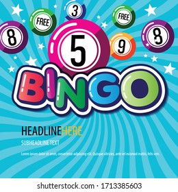 Bingo lottery posters. Background game templates with balls for invitations, cards, ad and more. Retro. Vector