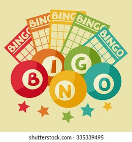 Bingo or lottery retro game illustration with balls and cards.