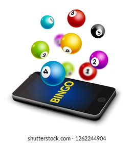 Bingo lottery smartphone balls background. Lotto vector gamble keno money app.