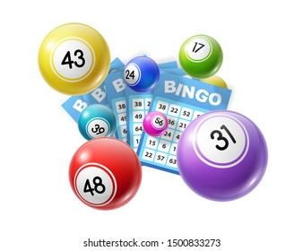 Bingo lotto game balls and lottery cards with lucky numbers. Vector poster for bingo lottery tv show backdrop and lotto win tickets store, gmabling and win chance