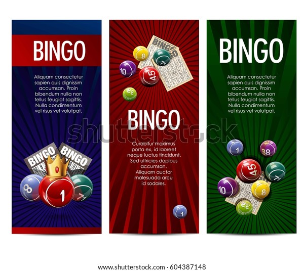 Bingo Lotto Lottery Banners Template Vector เวกเตอร์สต็อก (ปลอดค่า