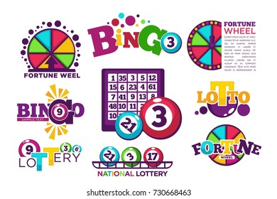 Bingo lotto or national lottery logo templates set.