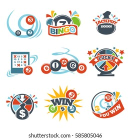 Bingo lotto win icons set of lottery jackpot vector numbers