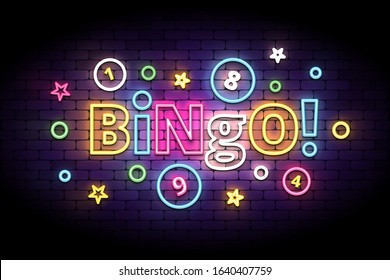 Bingo neon sign with lottery balls and stars. Colorful bingo lettering in glowing neon style. Vector illustration for the lottery.