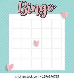 Bingo table blue background with hearts for valentine day
