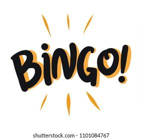 Bingo Vector illustration. Hand drawn lettering on white background.