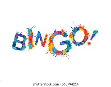 Bingo! Vector watercolor rainbow splash paint inscription