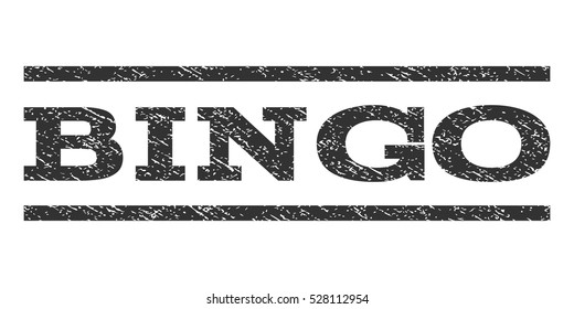 Bingo watermark stamp. Text tag between horizontal parallel lines with grunge design style. Rubber seal gray stamp with dust texture. Vector ink imprint on a white background.