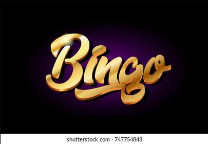 bingo word text logo in gold golden 3d metal beautiful typography suitable for banner brochure design
