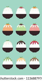 Bingsu cartoon set vector. menu. free space for text. wallpaper. label.