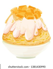 bingsu mango, Korean dessert,  vector illustration - Vector