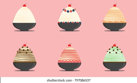 Bingsu set vector. free space for text. wallpaper.