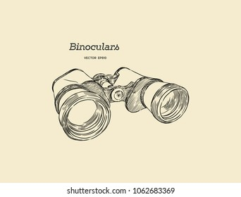 Binocular , engraved hand drawn in sketch for exploring and discovering.