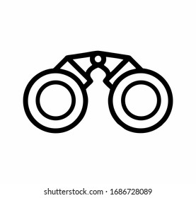 Binocular front view in black and white vector isolated for sign, logo, apps or website