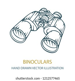 Binocular. Binocular hand drawing vector illustration. Binocular sketch drawing symbol.