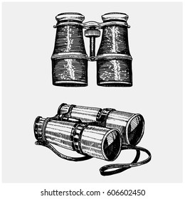 Binocular monocular vintage, engraved hand drawn in sketch or wood cut style, old looking retro scientific instrument for exploring and discovering.