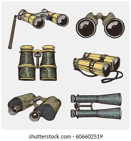 Binocular monocular vintage, engraved hand drawn in sketch or wood cut style, old looking retro scientific instrument for exploring and discovering