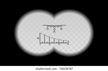 Binocular scale military vector illustration. View through the optical sight weapon. Circles frame with blurred edge of twin transparent lenses. Graduated reticle cross hair measuring range finder.